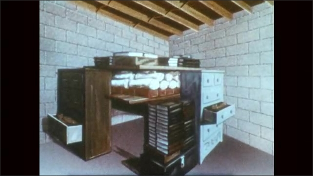 1950s: UNITED STATES: fallout shelter below house.  Books and drawers form fallout shelter. Diagram of fallout shelter