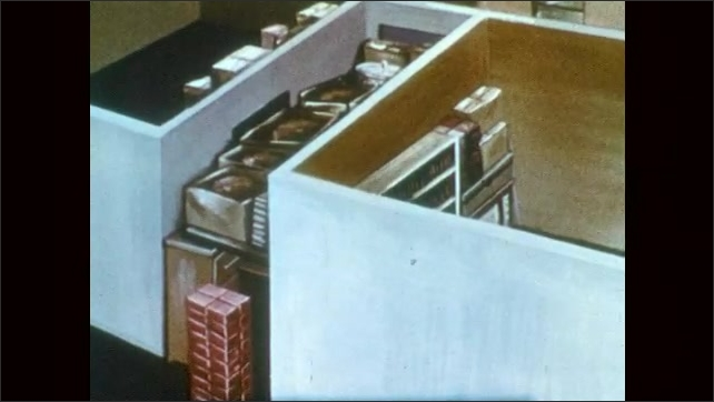 1950s: UNITED STATES: home made fallout shelter. Illustration of fallout shelter. Hand puts food in box from shelf.