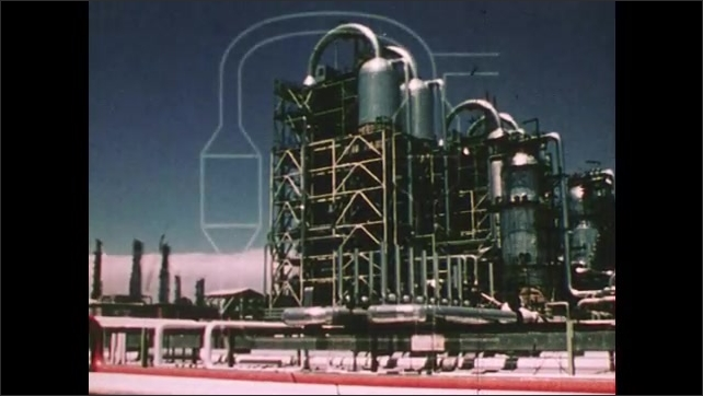 1980s: A coal processing plant, where coal is turned into synthetic fuels. A diagram showing where gasses are injected into a chemical reactor and are joined by a catalyst.