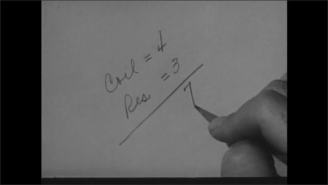 1940s: Man writes on paper, adds numbers, looks confused.