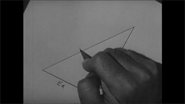 1940s: Man uses ruler, draws line between two lines, labels line.