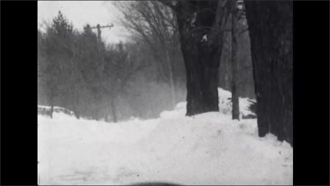 1930s: Wind blows the snow around trees.