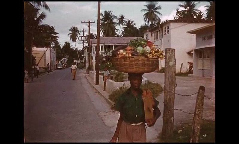 1950s: Jamaica. Little boy walks down street with basket of fruit on his head, smiles at camera. Little Jamaican boys and girls gather in the street, look at the camera.