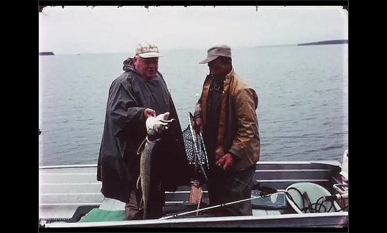 1970s: CANADA: man hits fish over head. Man holds up fish. Fish in water on line