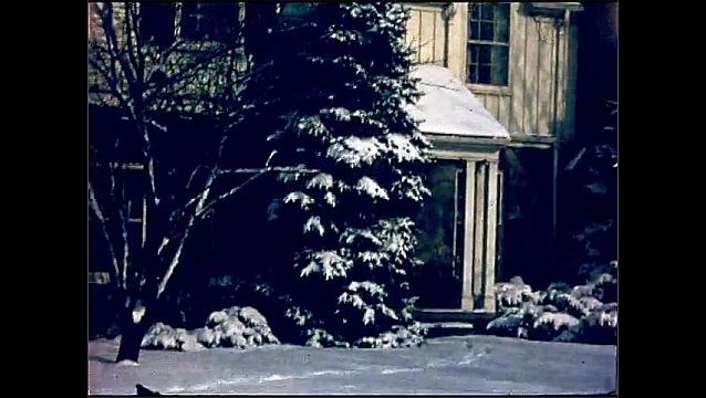 1950s: UNITED STATES: tree outside house. View of house and snow from car window. Car reverses down driveway