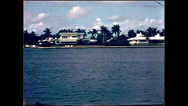 1950s: UNITED STATES: home by water. Palm trees around waterfront house. View of shore from boat trip