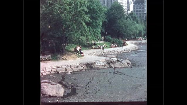 1960s: Men rush to stop horse and wagon on city street. People sit by empty lake in Central Park. People dance on lawn in Central Park.