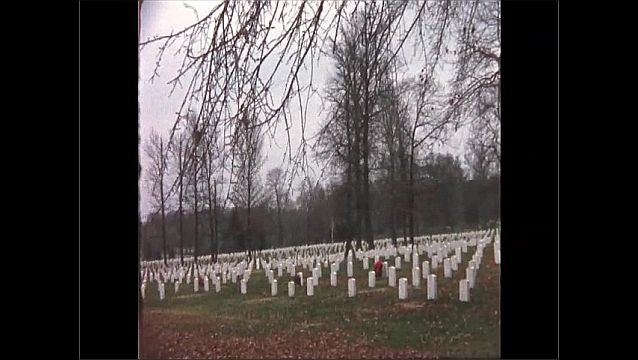 1970s: UNITED STATES: graves in cemetery. Trees near graves.