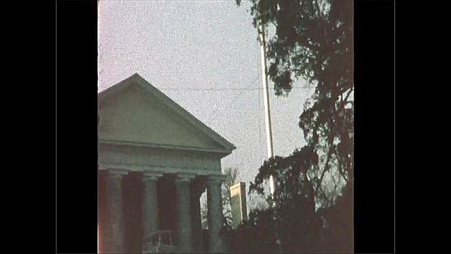 1970s: UNITED STATES: stone building and tomb. Stone building.
