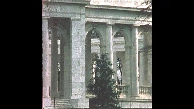 1970s: UNITED STATES: columns and entrance into memorial. Commemoration stone.