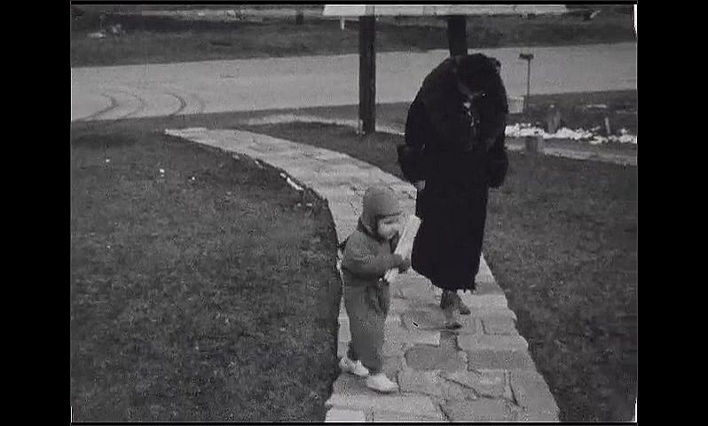 1930s: Doll with arms up laid out in radio flyer wagon. Baby pulls wagon on lawn as woman in fur coat, dog, watch. Baby carries log across lawn to wagon. Man with beard and stick stands with cows.