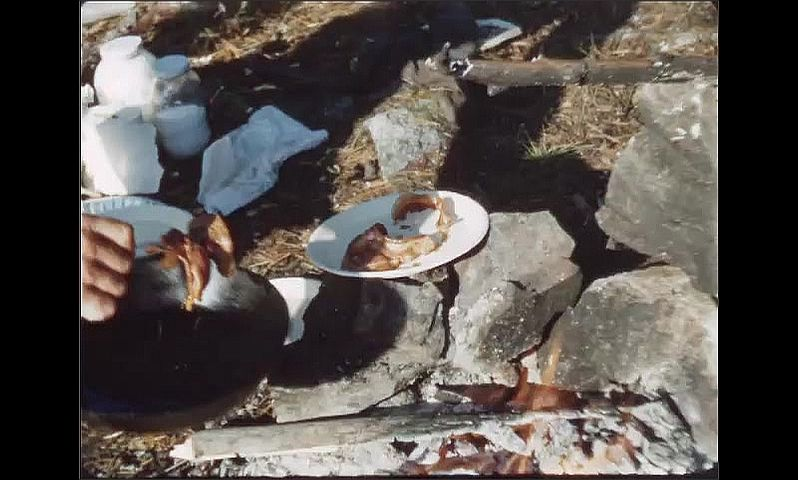 1940s: Man holds frying pan with bacon in it over campfire, then moves bacon to plates. Man breaks egg into frying pan.