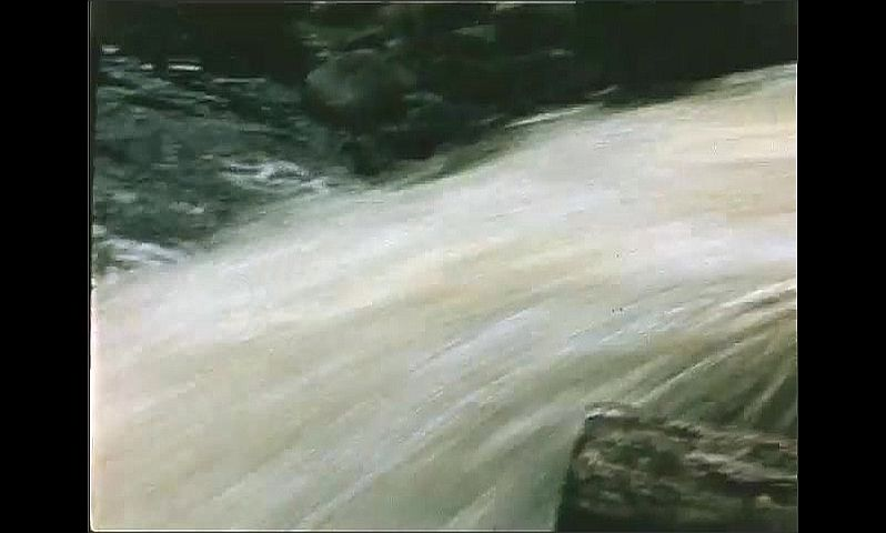 1940s: UNITED STATES: water falls into river. View of water from channel. View across lake.