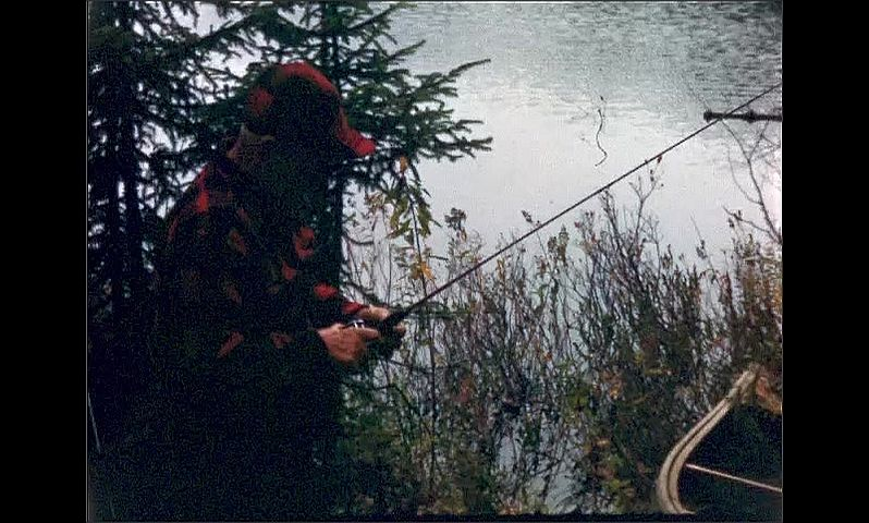 1940s: UNITED STATES: trees by lake. View across lake from shore. Man fishing from shore. Man attaches reel to rod.