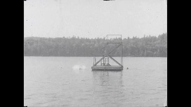 1940s: Young woman in two piece on edge of lake, fixes hair, smiles. She runs, dives into lake of diving board. Kids dive off wooden platform in lake. Men, women on porch. Boy holds kittens in arms.