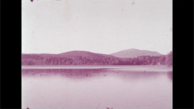 1940s: Flowering trees.  Lake.  Mountains.