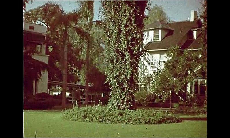 "1950s: Man points to sign reading ""PRESS AREA.  NO SPECTATORS.""  Blimp.  Man walks through yard.  Palm trees."