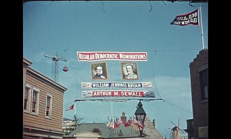 1930s: UNITED STATES: George Jessel's Old New York entrance sign. Ladies dance. Regular Democratic Nominations. Regular Republican Nominations.