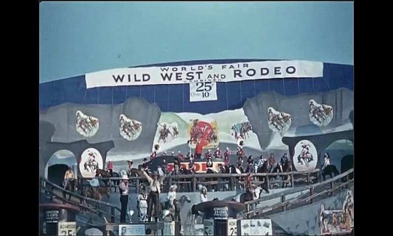 1930s: UNITED STATES: Wild West and Rodeo stage and show. Children on horses.
