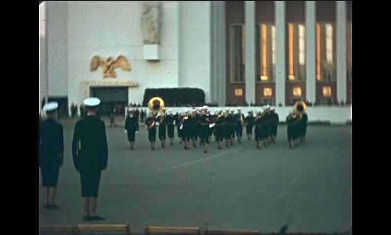 1930s: UNITED STATES: Sailors march for visitors to World Fair 1939. Marching military band. Sailors play drums