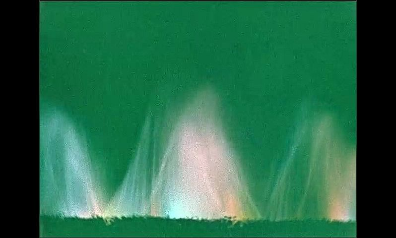 1930s: UNITED STATES: water spray and lights. Light and water show. The Firestone Singing Color Fountain show. The City of Light.
