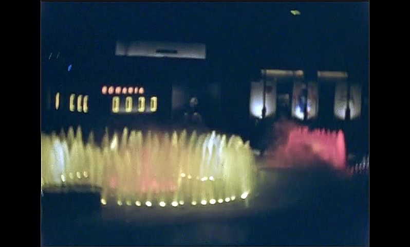 1930s: UNITED STATES: dancing fountains at night. Water features and light display.