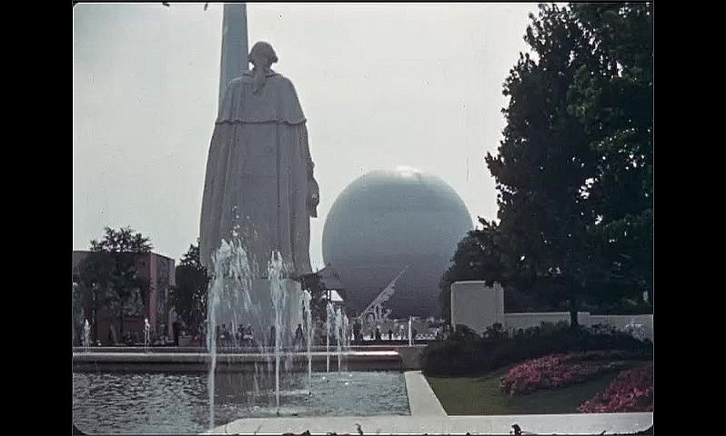 1930s: UNITED STATES: water fountains and statue at World Fair. Large shapes at World Fair.