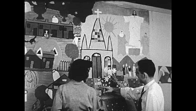1950s: Man points to mural and speaks to woman.  Church altar.  Preacher speaks from podium.  Congregation.
