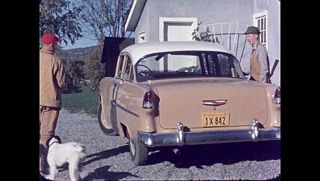 1950s: UNITED STATES: men and dogs get into car. Man with hunting gun.