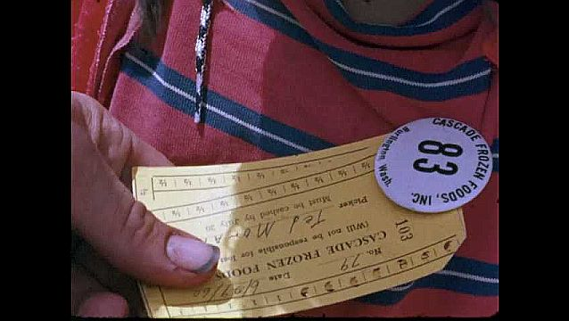 1950s: UNITED STATES: fruit farm ticket. Clock in card