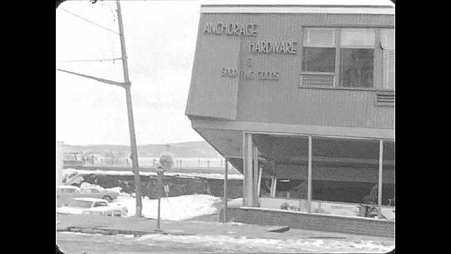 1960s: ALASKA: hardware store damaged in earthquake. View through shop window. Anchorage damage. Mannequins on shop floor. Men stand by bus and plane.