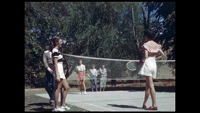 1950s: two women playing badminton, people playing horseshoes, woman putting in minigolf
