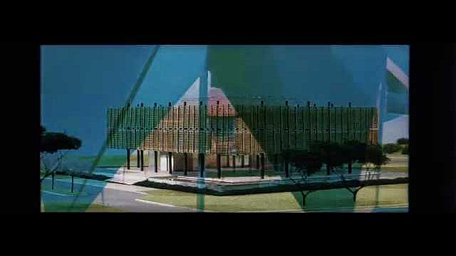 1960s: UNITED STATES: architecture of buildings in future. Drawing of building. Ship on water. Car drives along road. Futuristic car