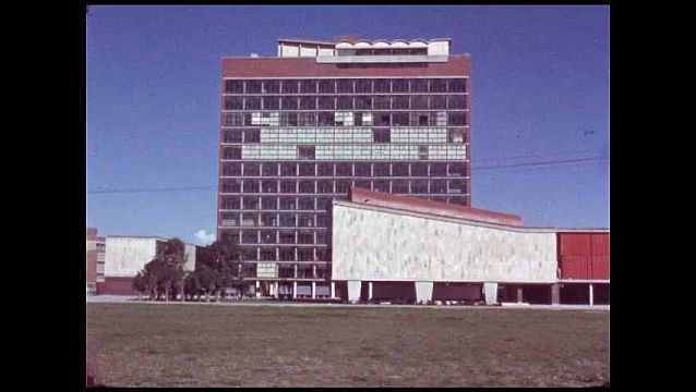 1960s: MEXICO: buildings and blue sky. Folded buildings