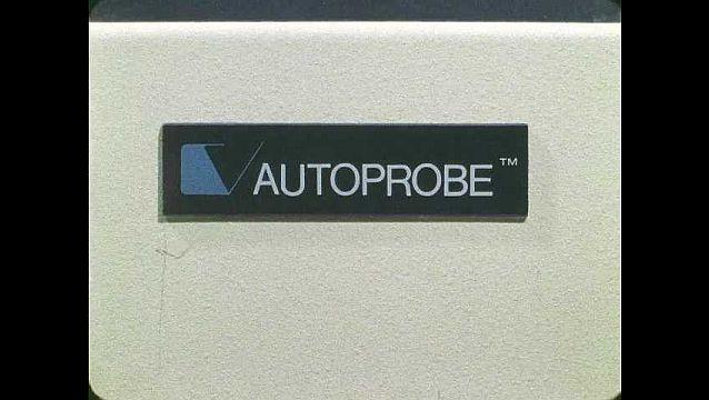 1960s: UNITED STATES: Autoprobe logo. Autoprobe machine.
