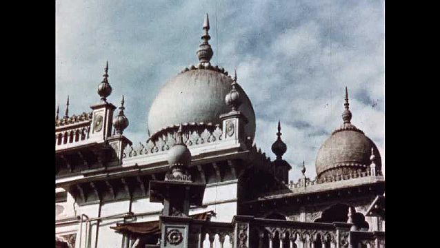 1950s: Elaborate traditional Indian architecture.