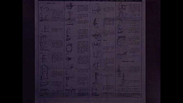 1940s: Dressmaking instructions page with drawings and diagrams of stitching and finishing techniques, woman's hand with red nail polish and pencil points down the middle of the paper.