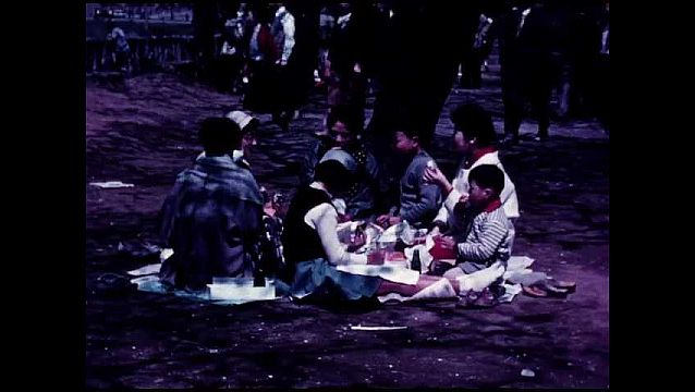 1940s: JAPAN: people enjoy picnic. Lady peels fruit at picnic. Baby at picnic. Man smokes cigarette. Men in park