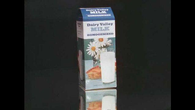 1960s: Milk carton spins around.