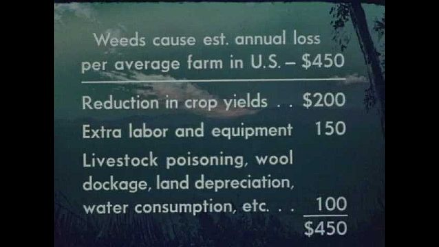 1940s: UNITED STATES: annual loss figures for weeds and reduction in crop yield.