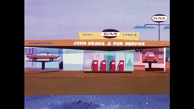 1960s: Busy traffic in front of gas station. Gas pump morphs into a genie, at your service.