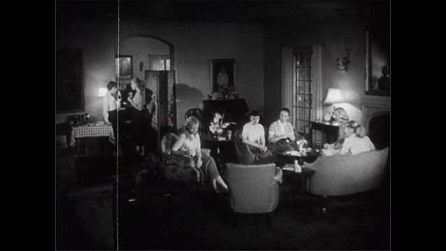 1940s: Messy blonde girl tries to tidy up before a party. Girl sits forlornly at a party as other girls chat, laugh and knit.