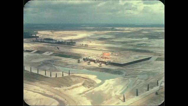 1960s: Aerial view of construction site.