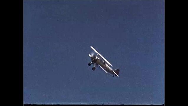1950s: Man screws cap onto tube. Fruit flies in tube. Plane flies over orchard, sprays chemicals.
