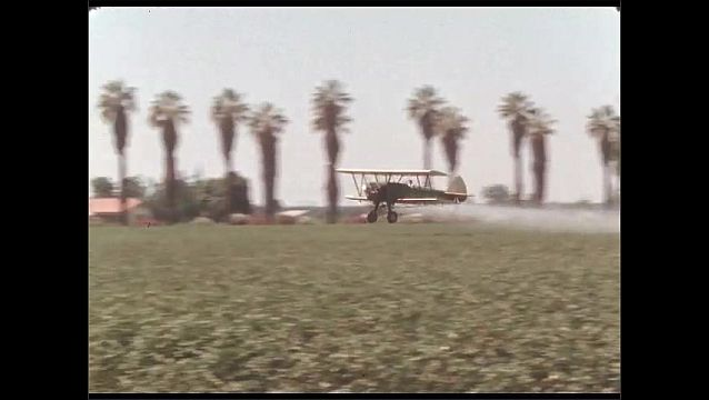 1950s: Crop duster plane sprays field and climbs over treetops.