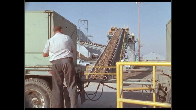 1950s: Man secures truck trailers near conveyor belt at industrial silo facility.