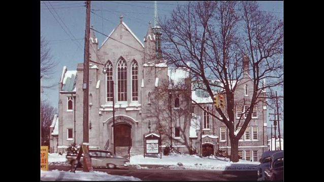 1950s: Shots of churches. People exiting church. People exiting, walk down steps.