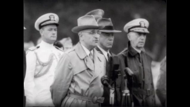 1940s: President Harry S. Truman stands at microphone giving a speech.