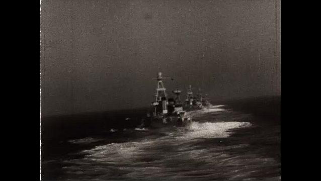 1940s: Views of battleships at sea.