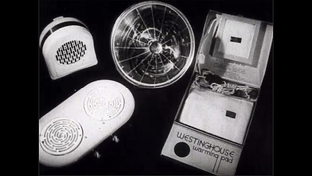 1940s: Westinghouse household electrical appliances such as a waffle maker, heating pad, coffee maker, vacuum, and hot plate.
